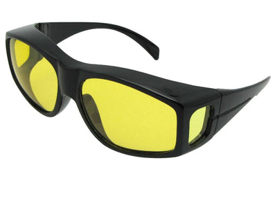 Style F18 Large Yellow Lens Wrap Around Polarized Fit Over Sunglasses Black Frame Light Polarized Yellow Lens