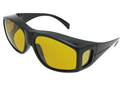 Style F18 Large Yellow Lens Wrap Around Polarized Fit Over Sunglasses Black Frame Dark Polarized Yellow Lens
