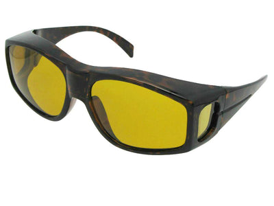 Style F18 Large Yellow Lens Wrap Around Polarized Fit Over Sunglasses Tortoise Frame Dark Polarized Yellow Lens