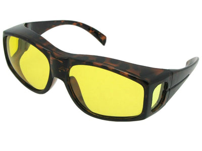 Style F18 Large Yellow Lens Wrap Around Polarized Fit Over Sunglasses Tortoise Frame Light Polarized Yellow Lens