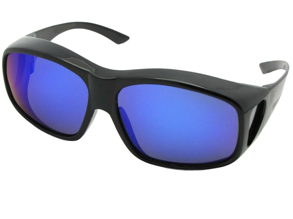Style F19 Largest Wrap Around Color Mirror Fit Over Sunglasses Black Frame Blue Mirror Gray Lens