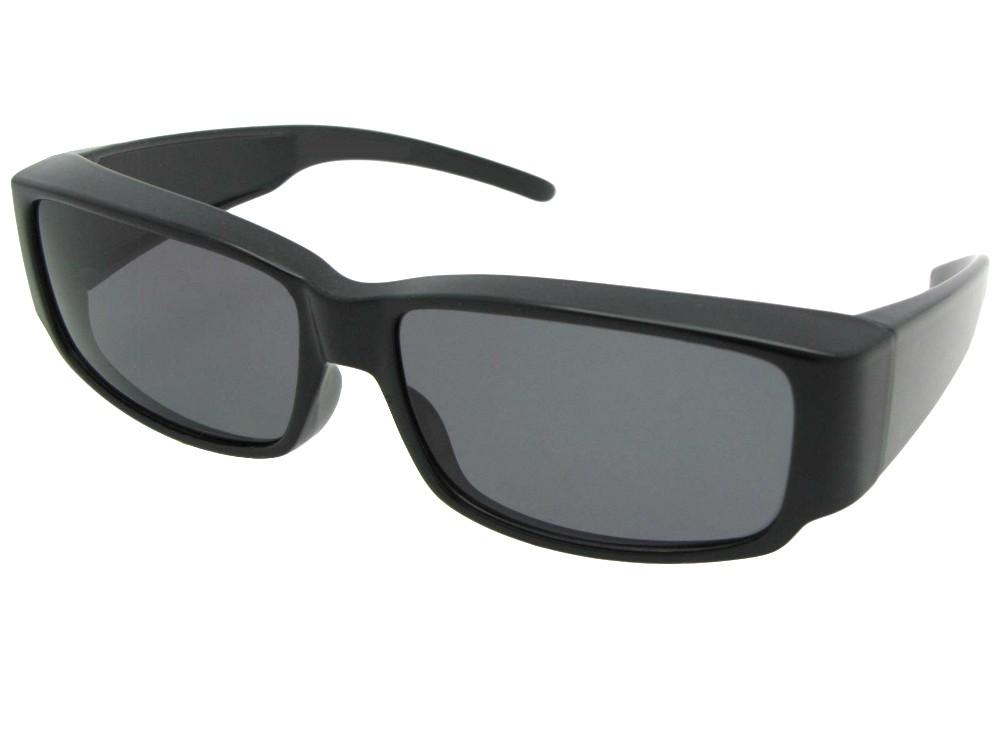 Style F25 Small Sleek Rectangular Shape Fit Over Sunglasses Black Frame M Dark Gray Lens