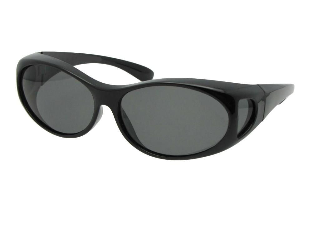 Style F3 Small Wrap Around Fit Over Polarized Sunglasses Black Frame Med Dark Gray Lenses