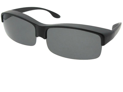 Style F40 Wide Half Rim Polarized Fit Over Sunglasses Flat Black Frame Gray Lenses