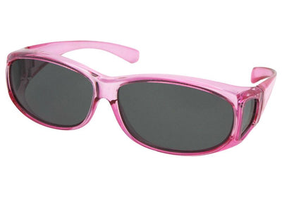Style FJ3 Junior Size Fit Over Glasses Crystal Pink Gray Lens
