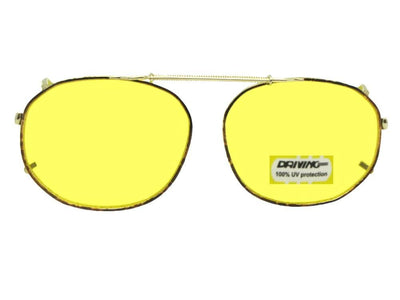 Round Square Yellow Lenses Clip-on Sunglasses Gold Brown Frame Yellow Lens