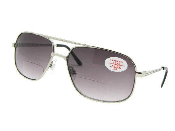 Style B96 Large Square Aviator Bifocal Sunglasses Silver Frame Gray Lenses