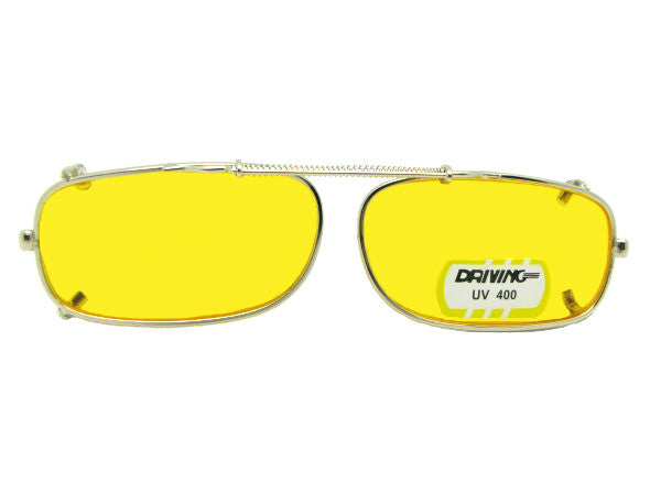 Skinny Curved Rectangle Yellow Lens Clip-on Sunglasses Gold Frame