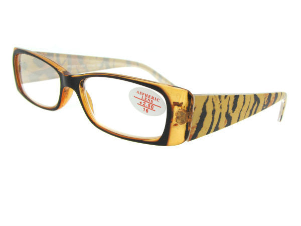 Style R45 Tiger Brown Frame Clear Lenses