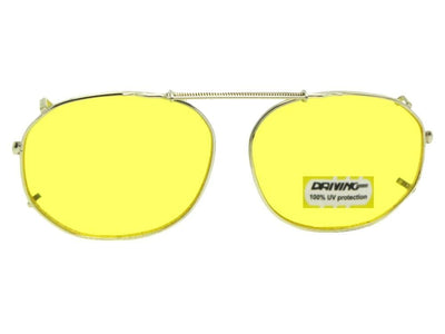 Round Square Yellow Lenses Clip-on Sunglasses Gold Frame Yellow Lenses