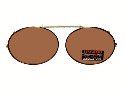 Oval Non Polarized Amber Clip-on Sunglasses Gold Brown Frame Amber Lens