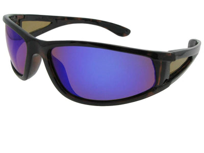 Wrap Around Color Mirror Polarized Sunglasses Style PSR28