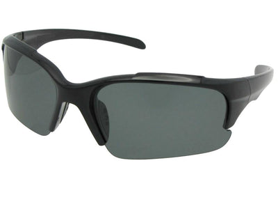 Style PSR47 Polarized Half Rim Sport Sunglasses Black Frame Gray Lenses