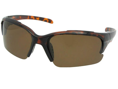 Style PSR47 Polarized Half Rim Sport Sunglasses Tortoise Frame Brown Lenses