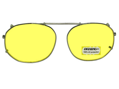 Round Square Yellow Lenses Clip-on Sunglasses Pewter Frame Yellow Lenses