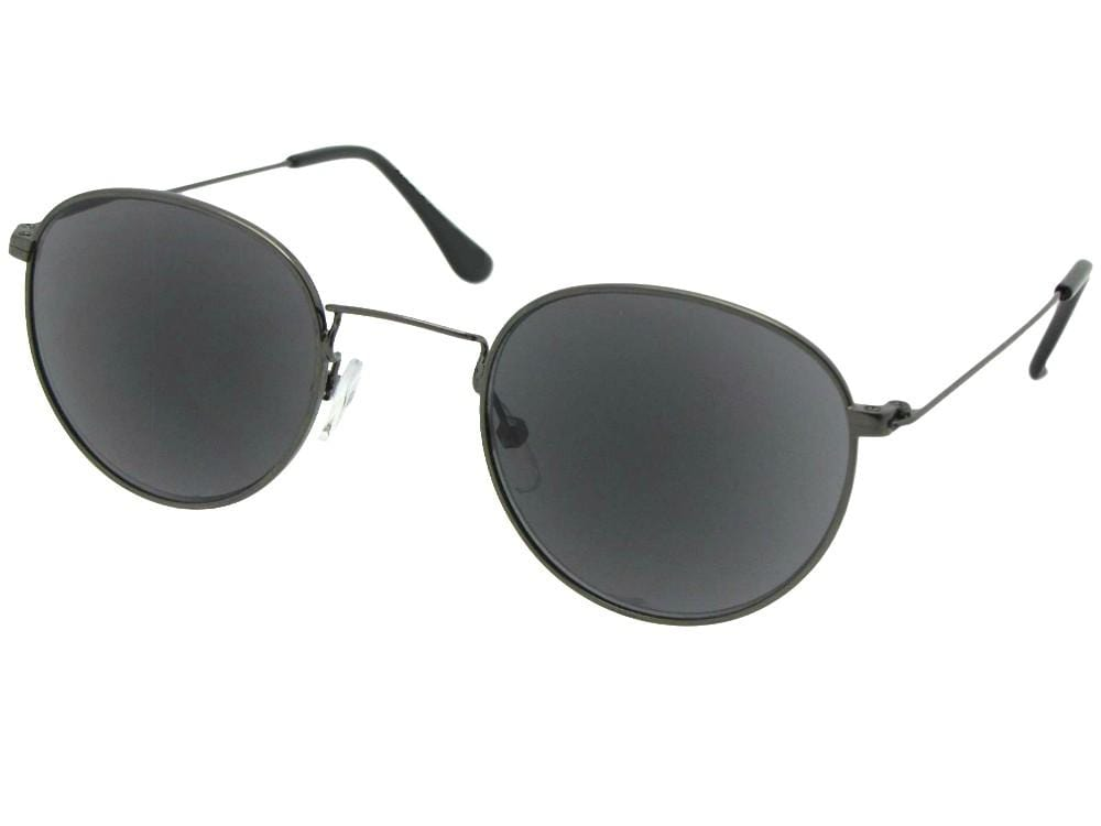 Style R106 Semi Round Reading Sunglasses Pewter Frame Gray Lenses
