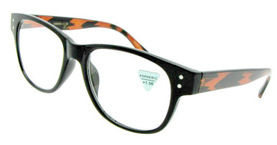 Style R12 Reading Glasses Black Tortoise Temple Frame