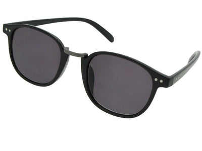 Style R67 Semi Round Retro Reader Sunglasses Black Frame Gray Lenses