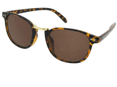 Style R67 Semi Round Retro Reader Sunglasses Tortoise Frame Brown Lenses