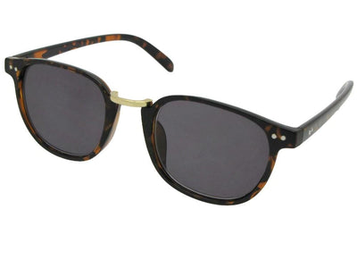 Style R67 Semi Round Retro Reader Sunglasses Tortoise Frame Gray Lenses