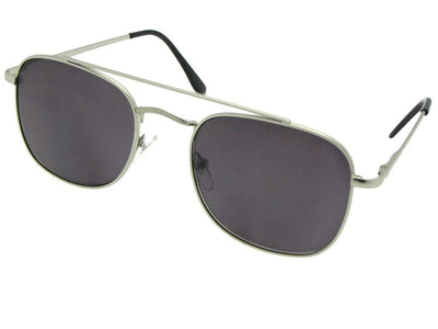 Style R72 Square Aviator Full Reader Lens Sunglasses Silver Frame Gray Lenses
