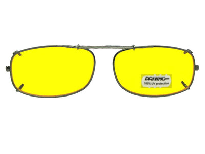 Skinny Curved Rectangle Yellow Lens Clip-on Sunglasses
