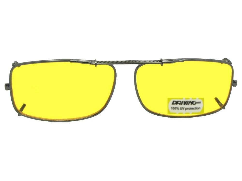 Slim Rectangle Non Polarized Yellow Lens Clip-on Sunglasses Pewter Frame