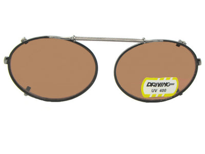 Oval Non Polarized Amber Clip-on Sunglasses