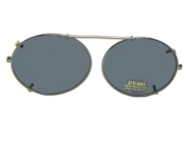 Round Oval Clip-on Non Polarized Pewter Frame Gray Lens