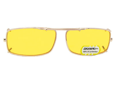 Slim Rectangle Non Polarized Yellow Lens Clip-on Sunglasses
