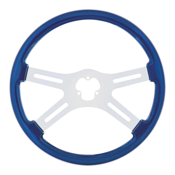 Blue Steering Wheel with Chrome Spokes  88224