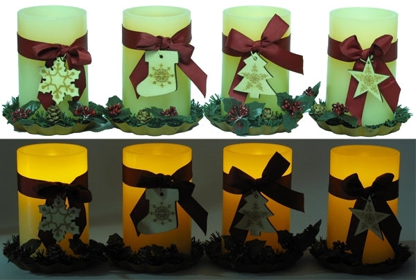 LED Holiday Pillar Candle on Metal Tray Asst Styles Price EACH