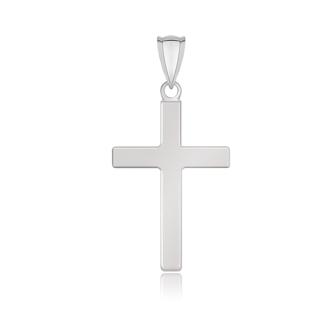 14k White Gold Flat Design Cross Pendant
