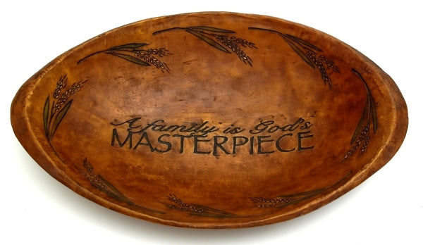 Wood-look Decorative Oval Bowl 'God's Masterpiece'