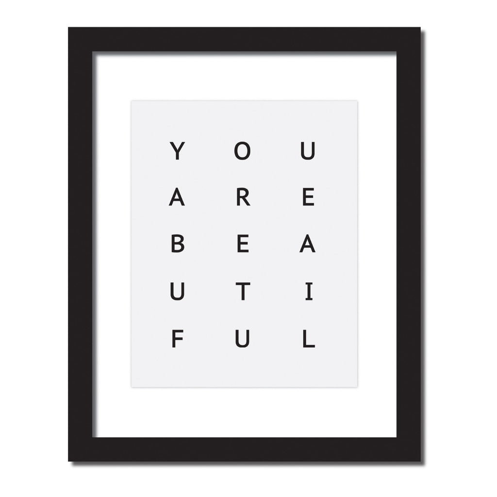 Inspirational quote print 'You are beautiful'