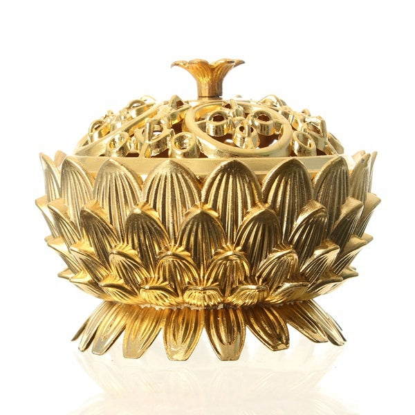 Lotus Flower Chinese Classical Tibetan Incense Burner Alloy Mini Sandalwood Censer
