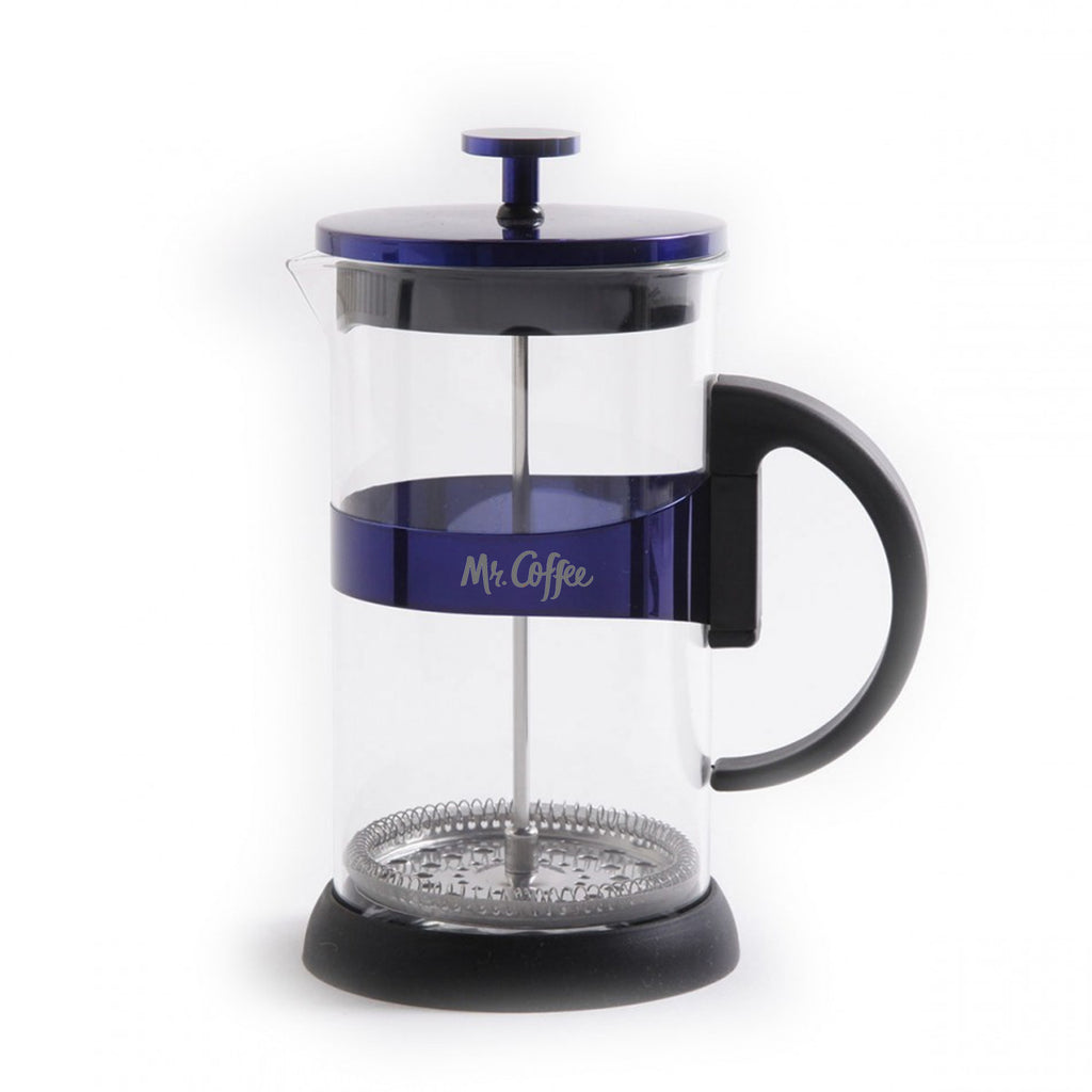 Max Brew 32oz Glass Coffee Press, Blue