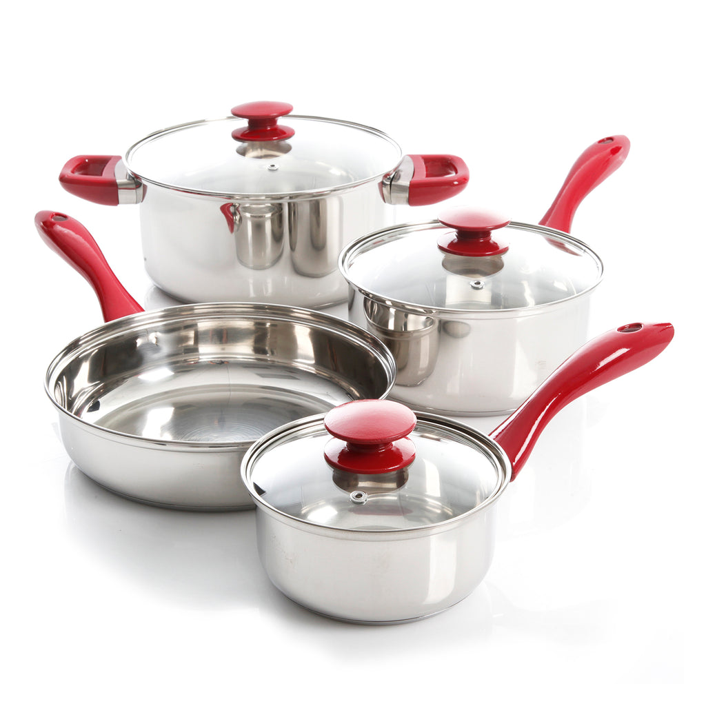 Sunbeam Crawford 7 pc Cookware Set Silver Mirror Polished Bakelite Handle - Red Handle