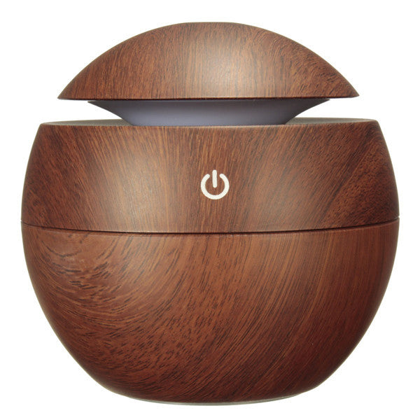 USB Wooden Ultrasonic Aroma Humidifier Air Essential Oil Diffuser with Color Changing LED Lamp