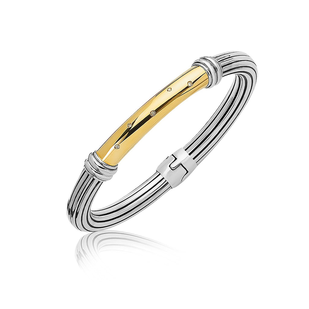 18k Yellow Gold and Sterling Silver Bangle with a Diamond Embellished Station, size 7.5''