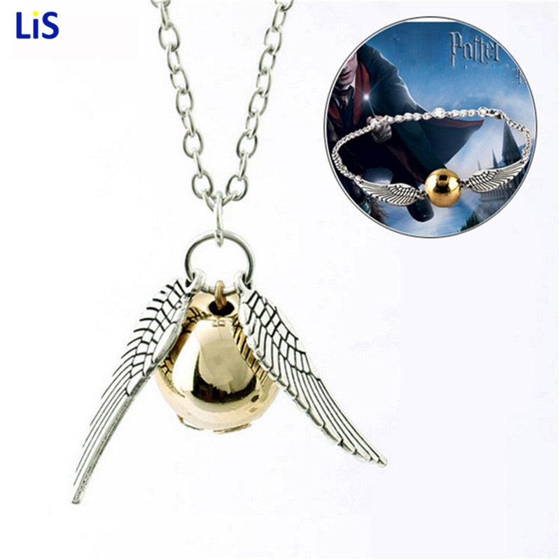 10pcs Harri Potter Keychain Men Vintage Style Angel Wing Charm Golden Snitch Keychain Model Action figure toys best Xmas gifts