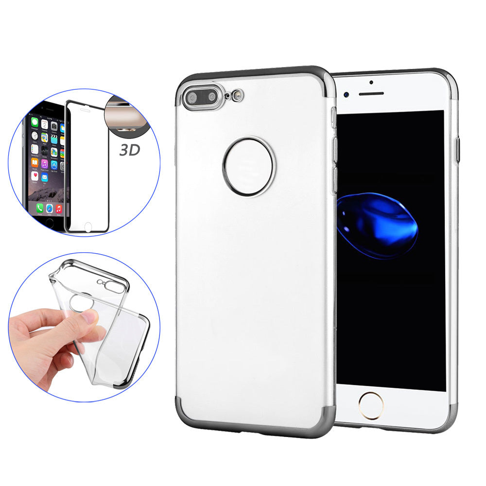 Hat Prince Plating Frame Soft TPU Case Cover + 3D Arc Edge Tempered Glass Screen Protector For iPhone 7 Plus