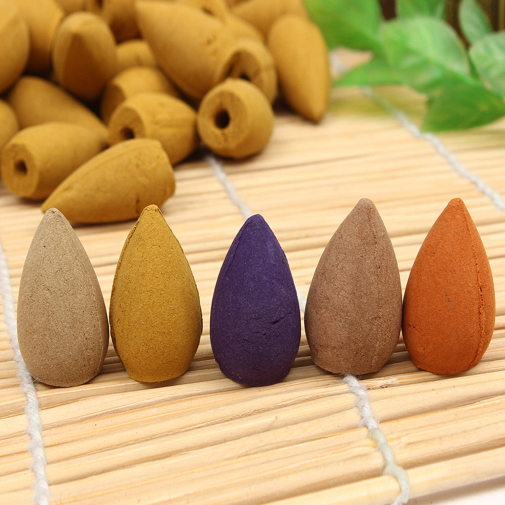 50Pcs/Bag Backflow Incense Cones Sandalwood Jasmine Lavender Wormwood Lily Fragrant Burner Cone