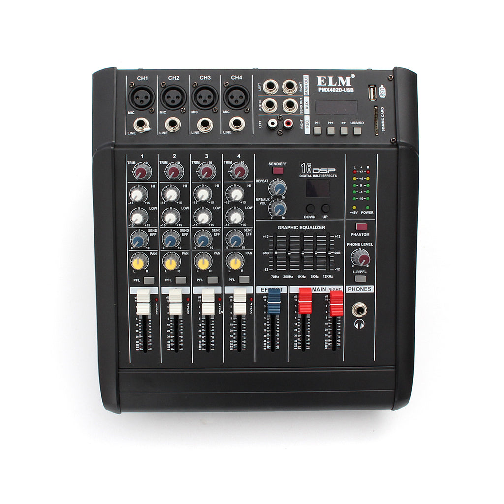 PMX402D-USB 4 Channel Professional Powered DJ Mixer power mixing Amplifier Amp USB