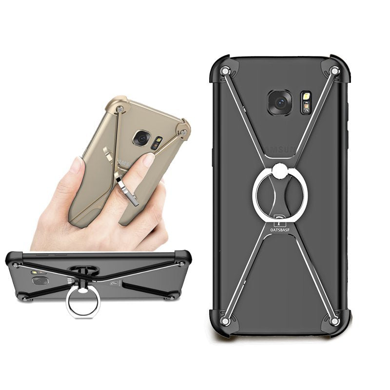 X Shape Bracket Holder Bumper Aviation Alloy Metal Anti Knock Case For Samsung Galaxy S7