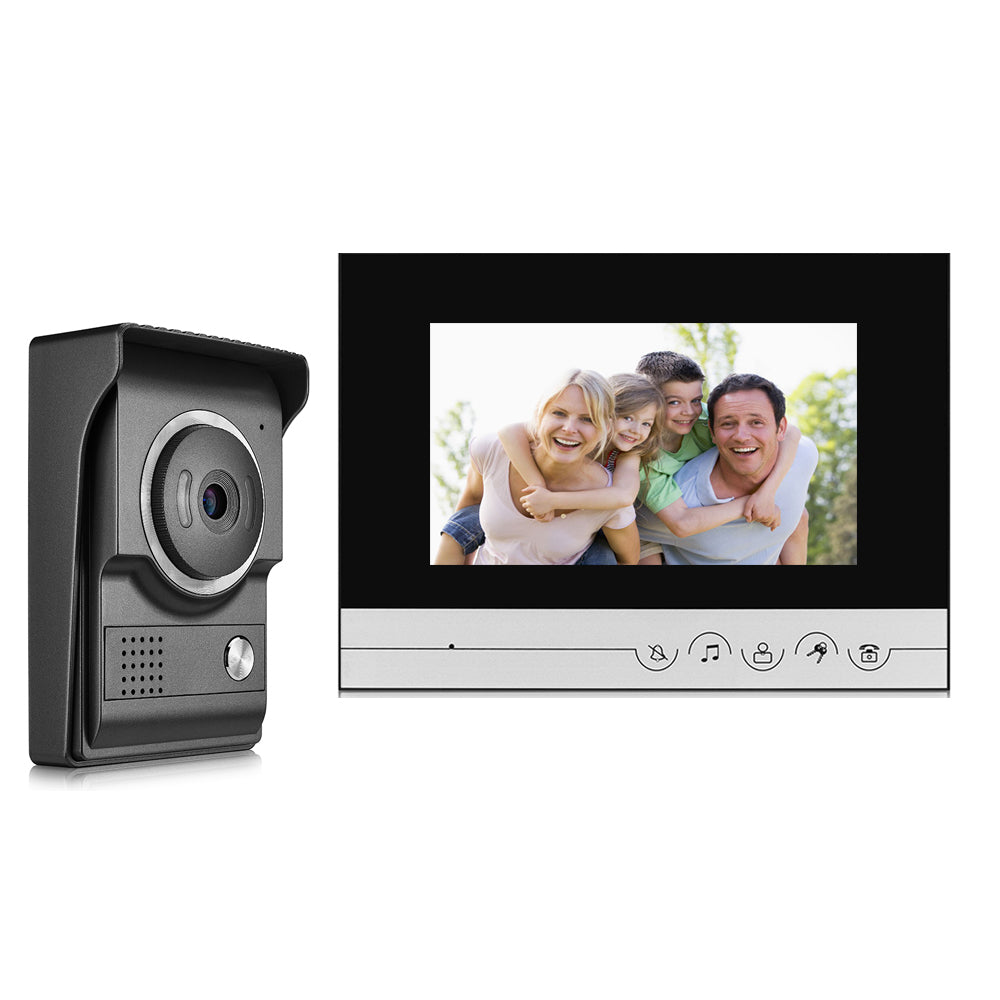 7 inch TFT 2.4G Wired Color Intercom Doorbell Video Door Phone Night Vision IR Outdoor Monitor