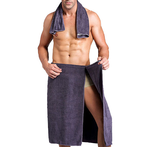 KCASA KC-840 Machine Wearable Man Bathtowel Bathrobe Shower Microfiber Soft Beach Absorbent with a Towel