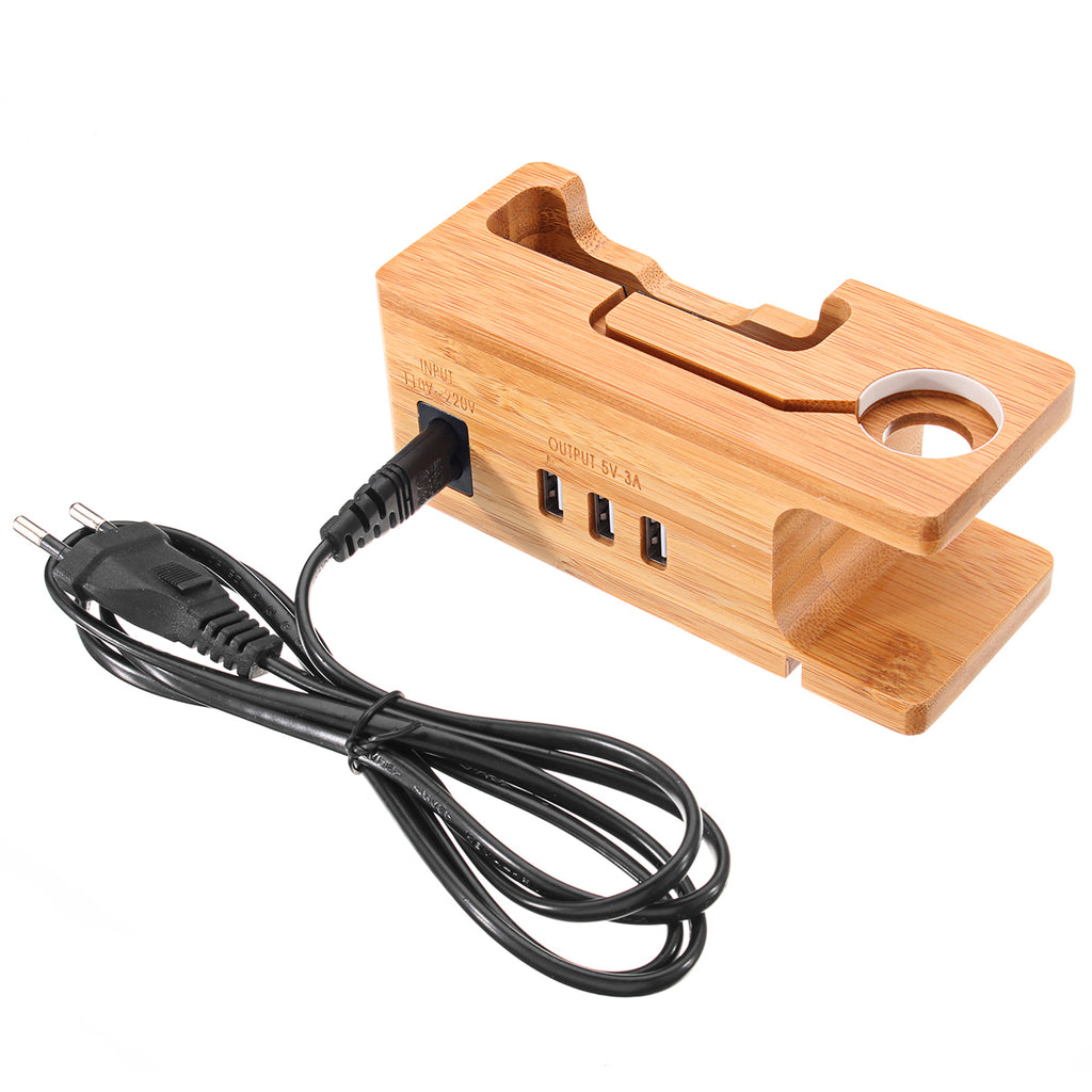 110V-220V USB Port Bamboo Charging Dock Station Charger Holder For Apple Watch iPhone