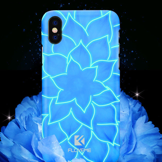 FLOVEME Luminous Light 3D Relief Lily Hard PC Case for iPhone X 7/8 Plus