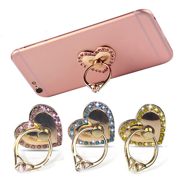Universal 2 in 1 Crystal Finger Ring Stand Desktop Phone Bracket Phone Holder for Samsung Xiaomi